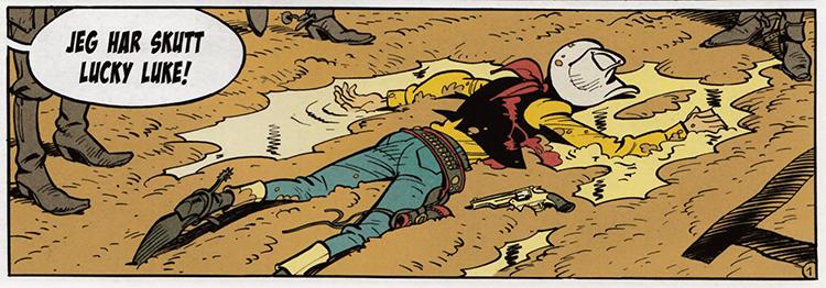 Lucky Luke ligger skutt på side en av Mannen som skjøt Lucky Luke